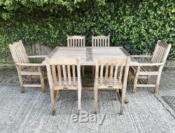 Teak garden table and eight teak chairs garden furniture patio set