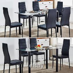 Tempered Glass Dining Table Set and 4/6 Faux Leather Chairs Kitchen Furniture