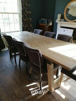 Timothy Oulton Large 2.7m Industrial Dining Table And 7 Mimi Chairs Black