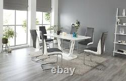 Tivoli High gloss and Chrome Dining Table Set and 6 Leather Chairs Seat