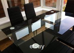 Top Quality Stunning Glass Dining Table Set And 6 Faux Leather Chairs Black Uk