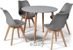 Toulouse Eiffel Small Grey Dining Set 90cms Round Table Wood Legs 4 Grey Chairs