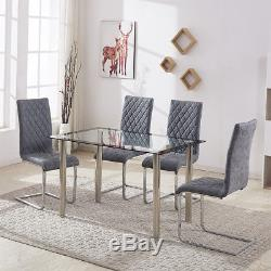 Transparent Dining Table and Chairs Distressed Leather Blue Chrome Kitchen Set