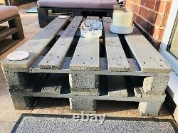 Two Outdoor Garden Chairs/Table Patio Grey Pallet Furniture