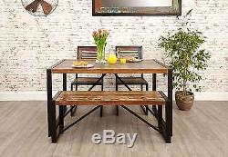 Urban Chic reclaimed wood indian furniture dining table two chairs and bench set