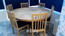 Used oak dining table and 6 chairs