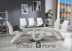 VENICE Black & White High Gloss Glass Dining Table Set And 6 Leather Chairs