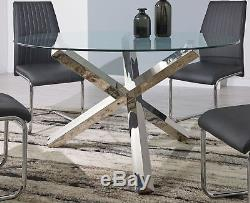 042d8f2d34a Vogue Large Round Chrome Clear Glass 4 6 Seater Dining Table And Leather  Chairs