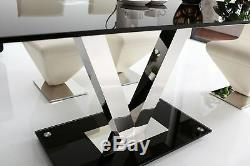 V' Chrome Black Metal Glass Dining Table and 4 6 Leather Chairs Seater