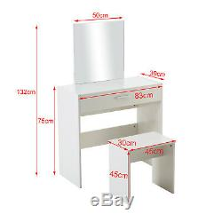 Vanity White Makeup Desk Dressing Table with Rectangle Mirror, Drawer and Stool