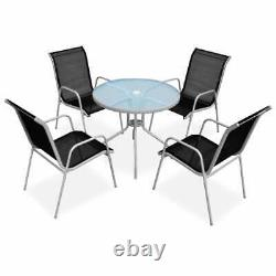 VidaXL Outdoor Dining Set 5 Piece Grey and Black Garden Table Stackable Chairs