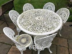 Vintage Cast Iron Garden Large Table And Chairs White