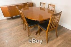 Vintage Retro G Plan Fresco Oval Fish Tail Dining Table and 6 Chairs