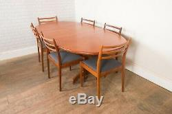 Vintage Retro G Plan Fresco Oval Teak Extending Dining Table and 6 Chairs