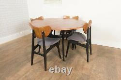 Vintage Retro G Plan Librenza Round Dining Table and 4 Butterfly Chairs