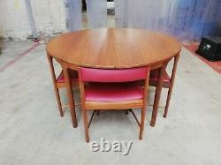 Vintage Retro Teak Mid Century Tuck Under Dining Table and 4 Chairs by McIntosh