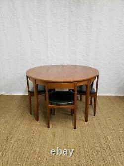 Vintage mid century teak extending dining table and chairs by Nathan furniture