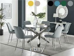 Vogue Large Round Glass and Chrome Modern Dining Table & 6 Chairs