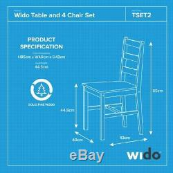 WHITE SOLID PINE WOOD 5 PIECE WOODEN DINING KITCHEN TABLE AND 4 CHAIRS Wido