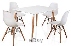 White 4 or 6 Plastic Lounge Chairs and Rectangle Dining Table Eiffel Style
