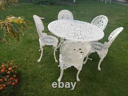 White Aluminium Garden Furniture Large Table and 5 Chairs