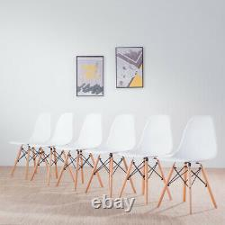 White Dining Table and 2 4 6 Chairs Set Wood Legs Kitchen Home Retro Room Chair
