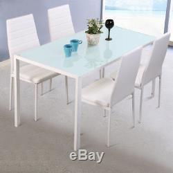 White Dining Table and 4/6 Chairs Set Glass Top Padded Leather Dinner Seater Kit