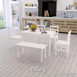 White Dining Table and 4 Chairs Bench Dining Set Contemporary Kitchen Furniture
