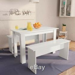 White Dining Table and Bench Space Saving Kitchen Table Chairs Modern Furniture