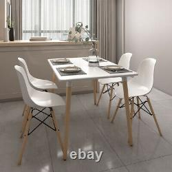 White Dining Table and Chairs 4 Set Wooden Legs Dining Room Kitchen Office Desk