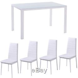 White Dining Table and with 4/6 Ribbed Padded Seat Chairs High Gloss Kitchen Set