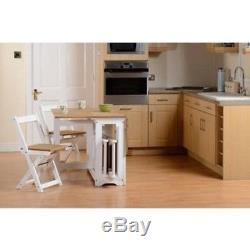White Folding Dining Wooden Table and 4 Chairs Set Extending Space Saving Small