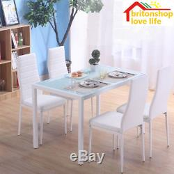 White Glass Gloss Dinning Table and 4 Chair Rectangular Kitchen Dining Chair Set