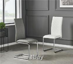 White Gloss Dining Table Set and 4 PU Leather Chairs Seats Seater Chrome Legs UK