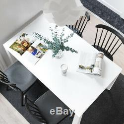 White High Gloss Dining Table and 4/6 Chairs Set Soft Faux Leather Seat 120×80cm