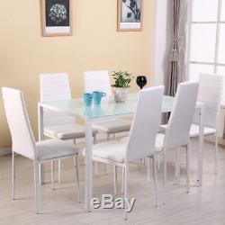 White High Gloss Glass Dining Table Set and 6 Faux Leather Chairs Kitchen Seats
