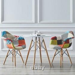 White Round Table and 2 /4 Patchwork Fabric Dining Chairs Home Office Lounge