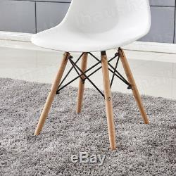 White Wood Dining Table and Chairs Set 4 chars Modern Design Dining Furniture