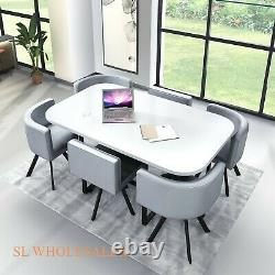 White Wooden Dining Table & 6 Chairs Rretro