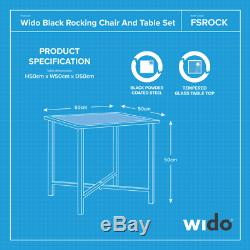 Wido 3 PIECE SET 2 X BLACK ROCKING CHAIR AND TABLE GARDEN PATIO POOL FURNITURE