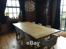 Wood Dining Table and 8 Chairs Extendable to 10 Seater