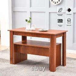 Wood Dining Table and Chairs Set 2 Bench Save Space Home Kitchen Dining Room