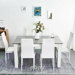 Wooden Dining Table Set Gray with6 Faux Leather Chairs White Kitchen Furniture