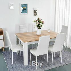 Wooden Dining Table Set Oak and White 6 Faux Leather Chairs Kitchen Furniture