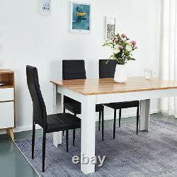 Wooden Dining Table Set Oak with 6 Faux Leather Chairs Black Kitchen Furniture