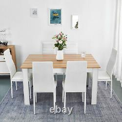 Wooden Dining Table Set Oak with 6 Faux Leather Chairs White Kitchen Furniture