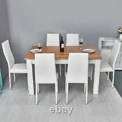 Wooden Dining Table Set with6 Faux Leather Chairs Seat Kitchen Furniture Oak&White