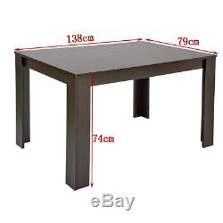 Wooden Dining Table and 4 Or 6 PU Faux Leather Chairs Set Home Kitchen Furniture