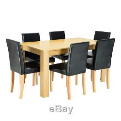 Wooden Dining Table and 4 Or 6 PU Faux Leather Chairs Set Kitchen Dinning Living