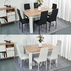Wooden Dining Table and 6 Chairs Faux Leather Seat Kitchen Home Furniture Set
